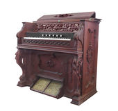 Old church pump organ isolated. Stock Image