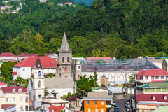 Old Church Renovation in Dominica. New roof being installed on old church in the coastal Caribbean town of Rosseau Dominica royalty free stock images