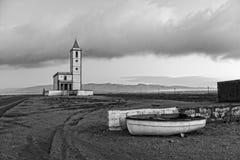 Old church restored in the Salinas de Cabo de Gata stock image