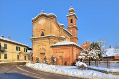 Old church on the road. Piedmont, Italy. Royalty Free Stock Image