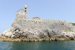 Old church on a rocky coastal outcrop at Portovenere Stock Photo