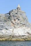 Old church on a rocky coastal outcrop at Portovenere Stock Image