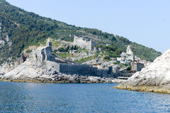 Old church on a rocky coastal outcrop at Portovenere Royalty Free Stock Images