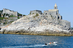 Old church on a rocky coastal outcrop at Portovenere, Italy Royalty Free Stock Images