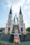 Old church of Roman Catholic Christianity and Virgin mary statue. At Chantaburi province, Thailand Stock Image