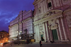 Old church in Rome. Old church with scaffold texture effect in roma Royalty Free Stock Images