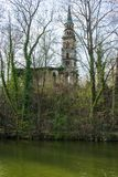 Old church ruin on an island in the lake royalty free stock photo