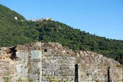 Old church ruins and village  in Corsica mountains Stock Photos