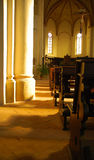 Old church sanctuary. Details of side aisle of a small, old church sanctuary royalty free stock photos
