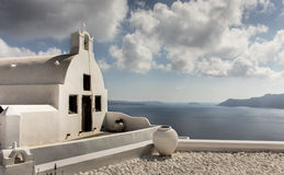 Old church and sea view, Santorini. Old traditional orthodox church and sea view in Santorini Stock Photo