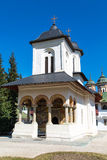 The old church at Sinaia Monastery, Romania. The old church at the Orthodox Sinaia Monastery and the partial view of the church inside, Romania stock image