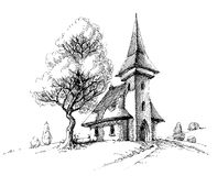 Old church sketch Royalty Free Stock Photo