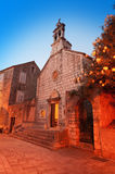 Old church at small Adriatic town. Hvar Stock Images