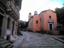 Old church and small street. In Corfu island Greece Royalty Free Stock Image