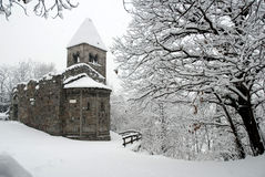 Old church in the snow Royalty Free Stock Photo