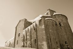 Old church with snow and ice Stock Photography