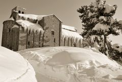 Old church with snow Stock Photo