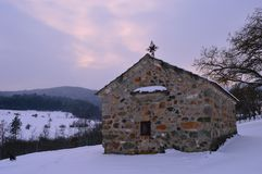 Old church in the snow Royalty Free Stock Image