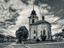 Old church. On the square of a small town Stock Images