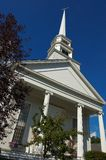 Old church in Stowe Vermont. With flags Royalty Free Stock Photo