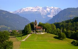 Old church in the Swiss Alps Stock Image