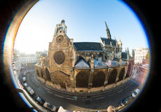 Old church, taken fisheye lens, in Paris Stock Photo