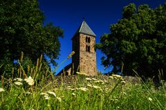 Old church tower - 13. century church. Abandoned building - Old church tower - 13. century church - Hungary Stock Image