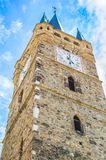 Old church tower with clock, abstract view - Romania Transylvania Stock Photos