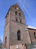 Old church tower. Tower of an old european protestant church in Denmark Stock Photography