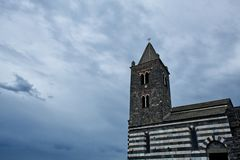 Old church tower of San Pietro, Portovenere, Italy royalty free stock photo