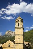 Old church tower with views of Parque National de Ordesa near Ainsa, Huesca, Spain in Pyrenees Mountains Stock Images