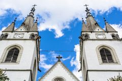 Old church towers with clock, abstract view - Romania Transylvania Stock Photo