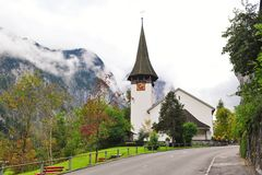 Old church in the town of Lauterbrunnen Royalty Free Stock Photo