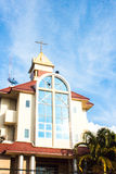 Old church under a blue sky. Royalty Free Stock Photo