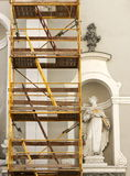 Old church under renovation. Baroque church under renovation with scaffolding Royalty Free Stock Photos