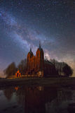 Old church under stars Royalty Free Stock Images
