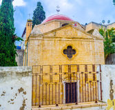 The old church. The view on the frontage of the Mensa Christi church, that located in maze of streets in old town of Nazareth, Israel Royalty Free Stock Photos