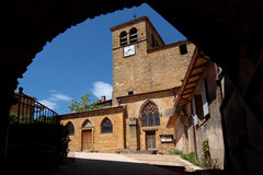 Old church in a village of Beaujolais Stock Photo