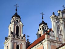 Old church in Vilnius. Vilnius city center architecture - croses Royalty Free Stock Photography