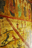 Old church wall painting. Beautiful orthodox church wall paintings Stock Photo