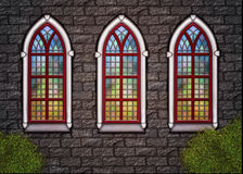 Old church - wall with tree windows Stock Photo
