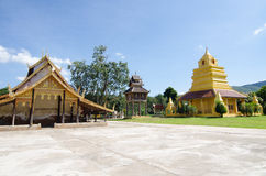 Old church at Wat Sri Pho Chai Sang Pha temple in Loei province, Stock Photo
