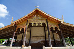 Old church at Wat Sri Pho Chai Sang Pha temple in Loei province, Thailand (Temples built during the Ayutthaya period) stock photos
