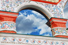 Old church window with blue sky and clouds reflection. St. Basil Cathedral, Red Square, Moscow, Russia. UNESCO World Heritage Site Royalty Free Stock Images