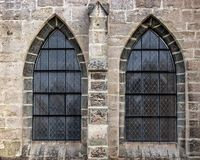 Old church window showing much detail and texture Royalty Free Stock Photography