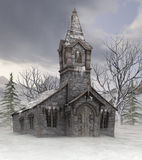 Old church in winter. 3D rendering of an old country church in winter Royalty Free Stock Images