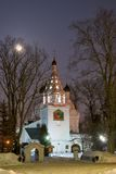 Old church in winter's night. royalty free stock images