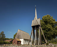 Old church with wooden bell tower Stock Photos