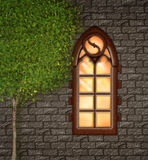 Old churchwindow and wall Royalty Free Stock Photo