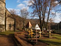 Old Churchyard. An old cemetery on a cold winter day Royalty Free Stock Photos
